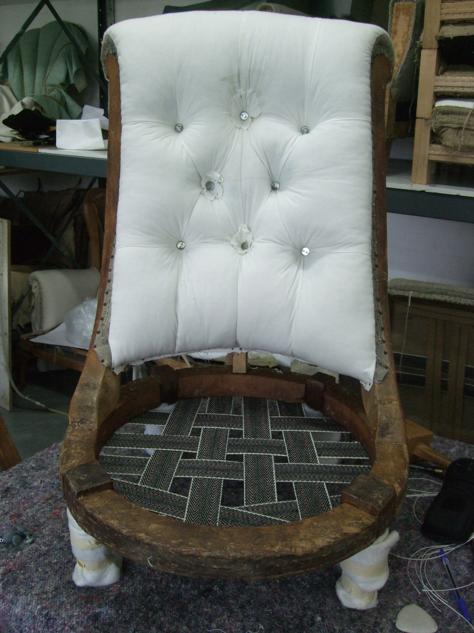After Many, Many Hours And A Lot Of Effort U2013 This Was The End Resultu2026 A  Very Comfortable, Deep Buttoned Victorian Slipper Chair.