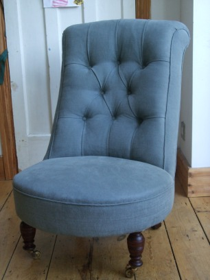 Victorian slipper chair with button back