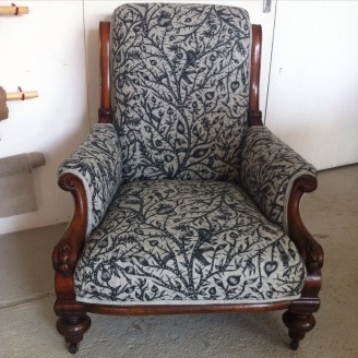 Victorian armchair in Camira 'Tangled'