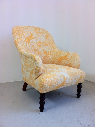 Victorian arm chair in St Jude's 'Harvest Hare'