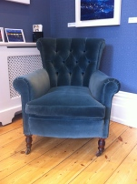 Late Victorian button back chair in velvet