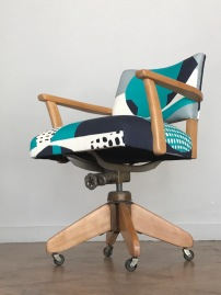 Vintage desk chair in Lizzie Hillier's new fabric