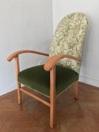 Fireside armchair in green velvet and St Judes Squirrel & Sunflower fabric