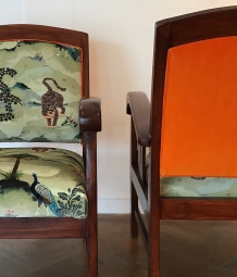 Vintage chairs in Fable velvet