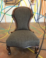 Victorian nursing chair in Harris Tweed