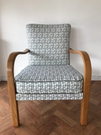 1940's Utility fireside chair in Earthed Fabrics 'Petroglyph'