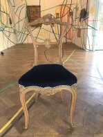 Antique French dining chair in Omega velvet with decorative nails