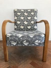1940's Utility fireside chair in Vanessa Arbuthnott fabric